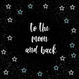 到月亮和后面 被隔绝的手写的浪漫字法  免版税库存图片