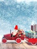 到达从与汽车的天空的圣诞老人有很多圣诞节礼物 库存例证