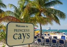 到达加勒比岛给游人 库存图片