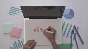 到达天空的企业概念金黄回归键所有权 妇女在膝上型计算机的纸写主题词 木空白咖啡杯桌面例证标记办公室纸张回形针的剪贴薄 股票视频