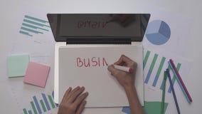 到达天空的企业概念金黄回归键所有权 妇女在膝上型计算机的纸写经营计划 木空白咖啡杯桌面例证标记办公室纸张回形针的剪贴薄 股票录像