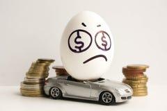 到达天空的企业概念金黄回归键所有权 企业汽车设计要素 一个哀伤的鸡蛋 库存图片