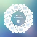 到达天空的企业概念金黄回归键所有权 圈子难题Infographic 周期图、图表、介绍和圆的图的模板 库存照片