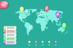 到达天空的企业概念金黄回归键所有权 选择的套infographic元素世界地图,横幅,零件或者步 能为网使用 图库摄影