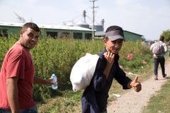 到达对克罗地亚的难民 免版税库存照片