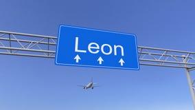 到达对利昂机场的商业飞机 旅行到墨西哥概念性3D翻译 免版税库存图片