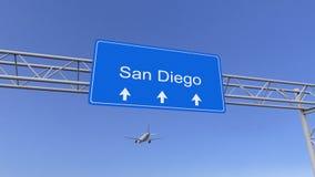 到达对圣地亚哥机场的商业飞机 旅行到美国概念性3D翻译 库存图片