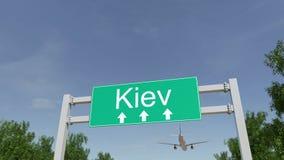 到达对基辅机场的飞机 旅行到乌克兰概念性3D翻译 库存图片