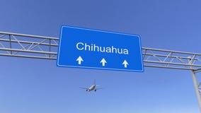 到达对奇瓦瓦狗机场的商业飞机 旅行到墨西哥概念性3D翻译 免版税库存照片