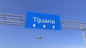 到达对提华纳机场的商业飞机 旅行到墨西哥概念性3D翻译 库存图片