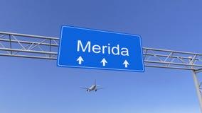 到达对梅里达机场的商业飞机 旅行到墨西哥概念性3D翻译 免版税图库摄影