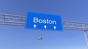 到达对波士顿机场的商业飞机 旅行到美国概念性3D翻译 免版税库存照片