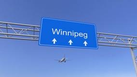 到达对温尼培机场的商业飞机 旅行到加拿大概念性3D翻译 免版税图库摄影