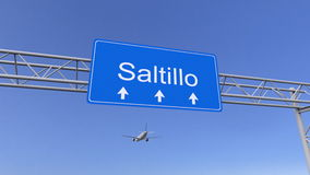 到达对萨尔提略机场的商业飞机 旅行到墨西哥概念性3D翻译 图库摄影