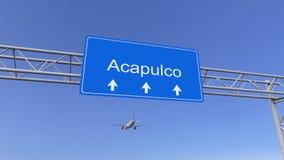 到达对阿卡普尔科机场的商业飞机 旅行到墨西哥概念性3D翻译 库存照片