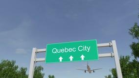 到达对魁北克市机场的飞机 旅行到加拿大概念性4K动画 股票视频