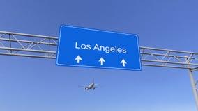 到达对洛杉矶机场的商业飞机 旅行到美国概念性3D翻译 库存图片