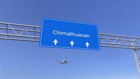 到达对Chimalhuacan机场的商业飞机 旅行到墨西哥概念性3D翻译 免版税库存图片