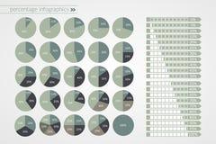 0%到100%饼和箭头图 传染媒介百分比infographics 圈子和被隔绝的线路图 icons llll 库存照片