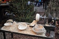 制作在圣诞节市场,科隆,德国上的木特纳 库存图片