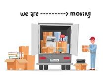 制服的人工作者有纸板箱的 移动的办公室 运输公司 箱子在手中 逗人喜爱的装载者 有公司的箱子 皇族释放例证