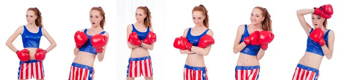 制服的妇女拳击手有我们的标志 库存图片
