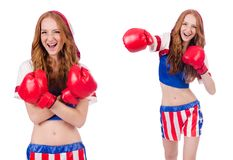 制服的妇女拳击手有我们的标志 免版税库存图片