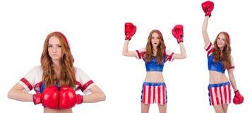 制服的妇女拳击手有我们的标志 图库摄影