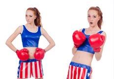制服的妇女拳击手有我们的标志 免版税图库摄影