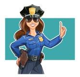 制服的美丽的女孩警察官员 库存例证