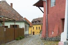 制毛皮者街道在老城Sighisoara在罗马尼亚 免版税图库摄影