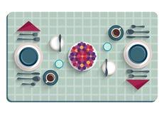 制表书桌早餐顶视图的设置  免版税库存照片