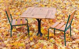 制表和两把椅子在下落的叶子中的夏天咖啡馆 免版税图库摄影