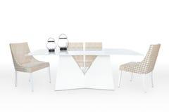 制表和在白色背景隔绝的两把椅子 免版税库存图片