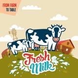 从制表的农场的新鲜的牛奶 免版税库存图片