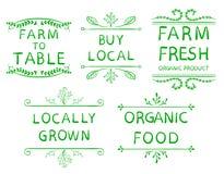 制表` `购买地方` `农厂新` `当地增长的` `有机食品`的`农场 印刷术元素 在白色的传染媒介小插图 皇族释放例证