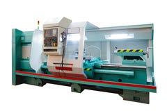 制造的专业车床机器 行业概念 在白色背景隔绝的可编程序的现代数字式车床 图库摄影