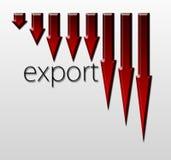 绘制说明出口贸易下落图表,宏观经济概念 免版税库存图片