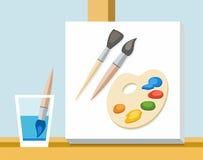 刷子、油漆、调色板和帆布艺术家 皇族释放例证