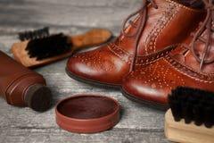 刷子、波兰奶油和棕色鞋子 库存图片