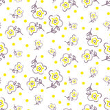 刷子冲程无缝的黄色花纹花样 免版税图库摄影
