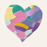 从刷子冲程的五颜六色的水彩心脏形状 免版税图库摄影