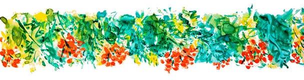 刷子冲程花楸浆果和叶子框架 免版税图库摄影