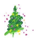 刷子冲程绿色圣诞树 免版税库存图片
