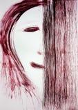 刷子画人的面孔,面孔的一半用长方形盖 犹豫不决 免版税库存图片