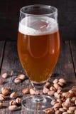 刷新低度黄啤酒和疏散极少数玻璃pist 免版税库存照片