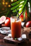 刷新低酒精鸡尾酒用伏特加酒、橙汁过去、血淋淋的桔子和冰块的夏天 木的表 选择聚焦 库存照片
