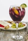 刷新的冰冷的果子用开胃菜填装了红色桑格里酒 免版税图库摄影
