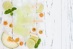 刷新的墨西哥样式冰流行-莓,石灰,甘露玛格丽塔酒paletas -冰棍儿 顶视图 Cinco de马约角食谱 库存照片