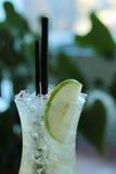 刷新的杯冷的苹果柠檬水 免版税库存照片